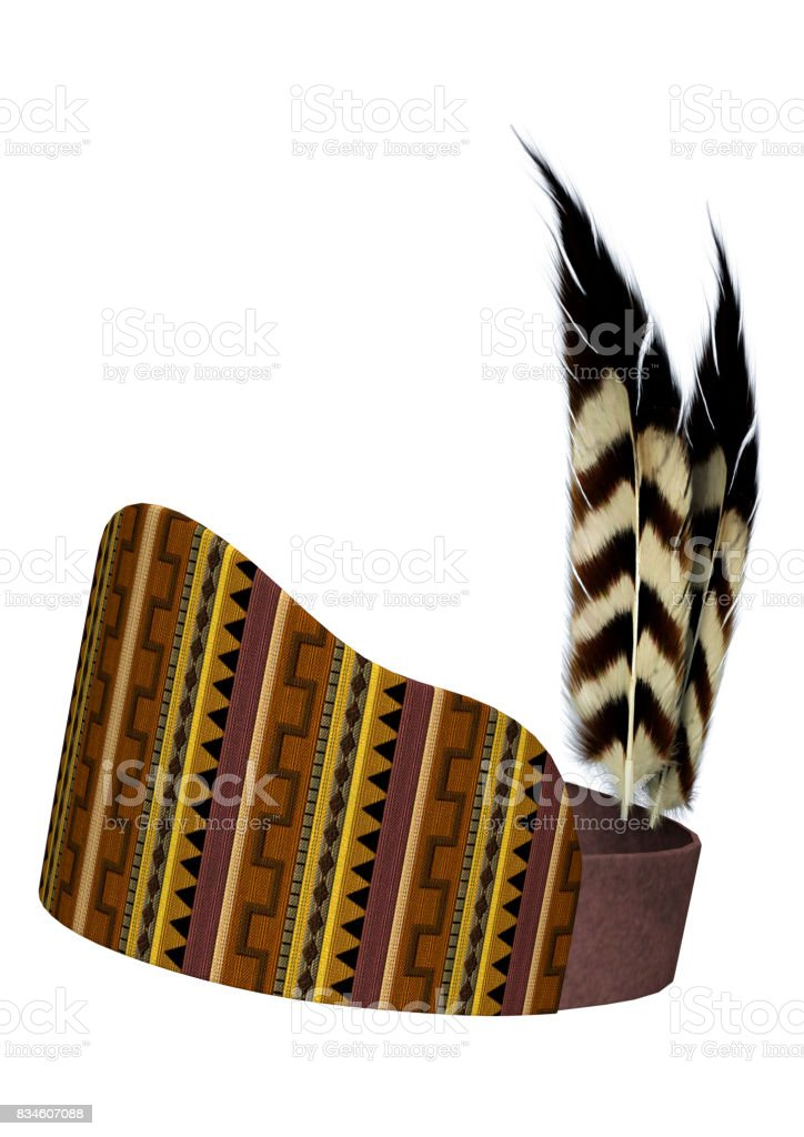3D Rendering Native American Feather Headdress on White stock photo