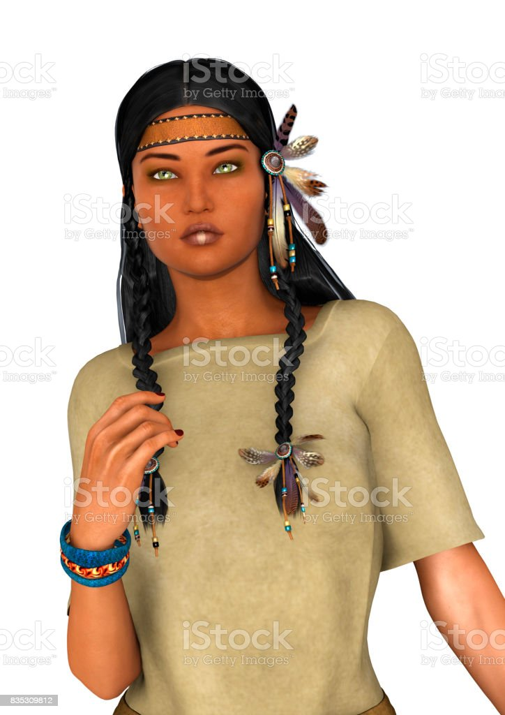3D Rendering Native American Woman stock photo