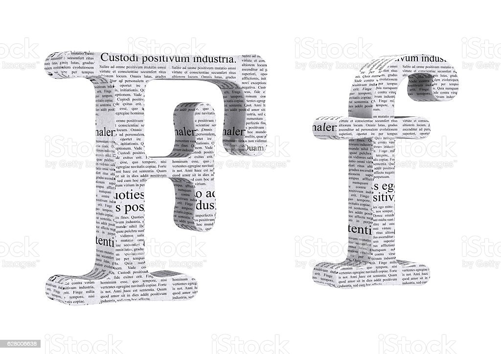 3D Rendering Newspaper F Font 3D Illustration stock photo