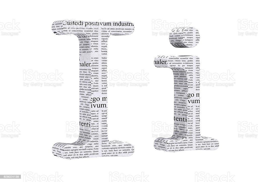 3D Rendering Newspaper I Font 3D Illustration stock photo