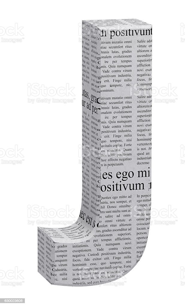 3D Rendering Newspaper J Font 3D Illustration stock photo