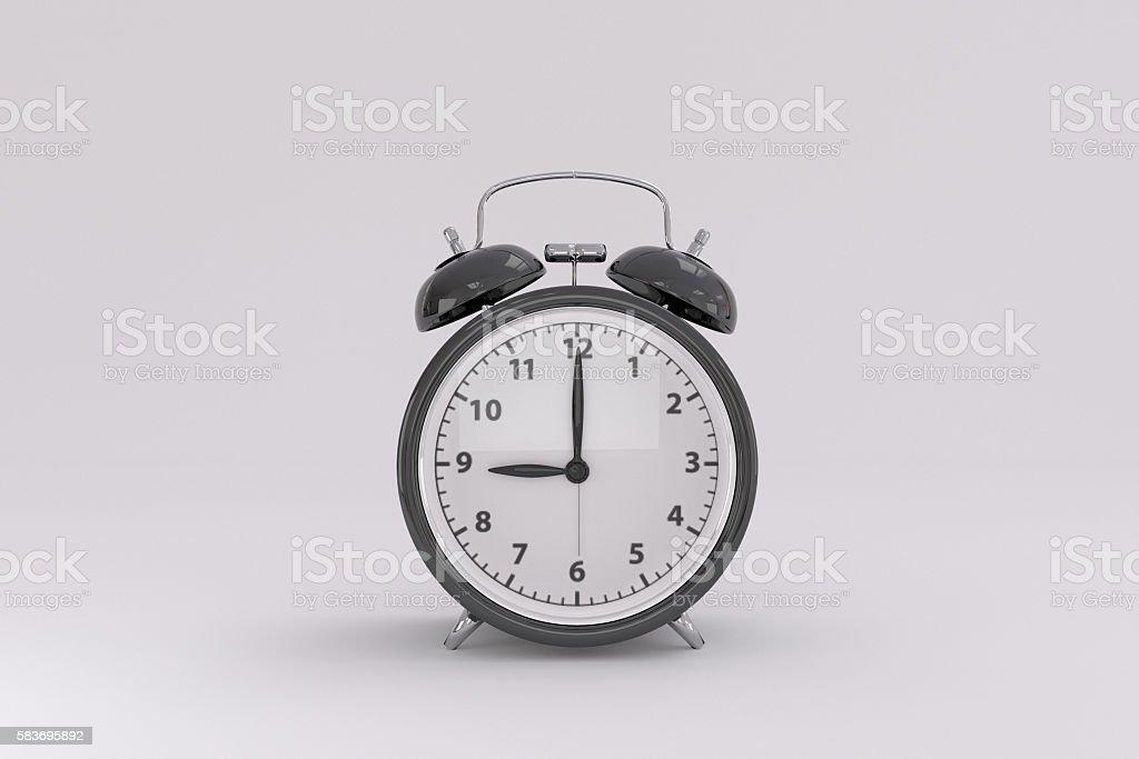 3D rendering of a black alarm clock stock photo