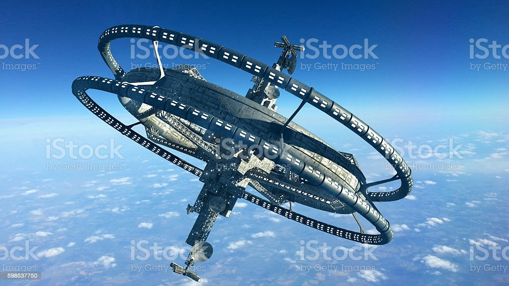 3D Rendering of a futuristic space station stock photo