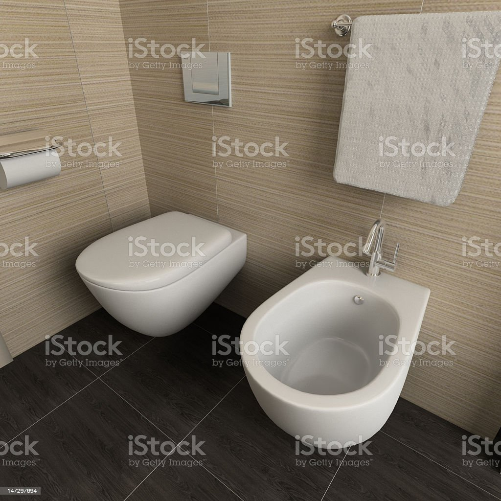 3D rendering of a modern bathroom and toilet fixtures stock photo