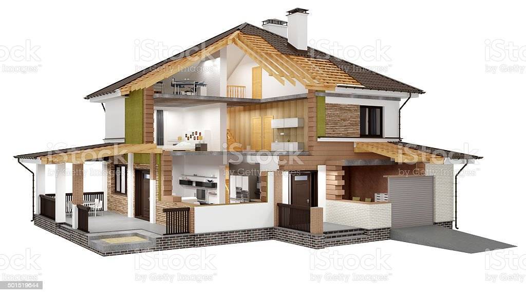 3D rendering of a modern  house stock photo
