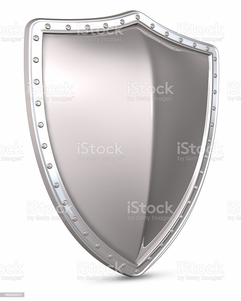 3D rendering of a silver shield on a white background royalty-free stock photo