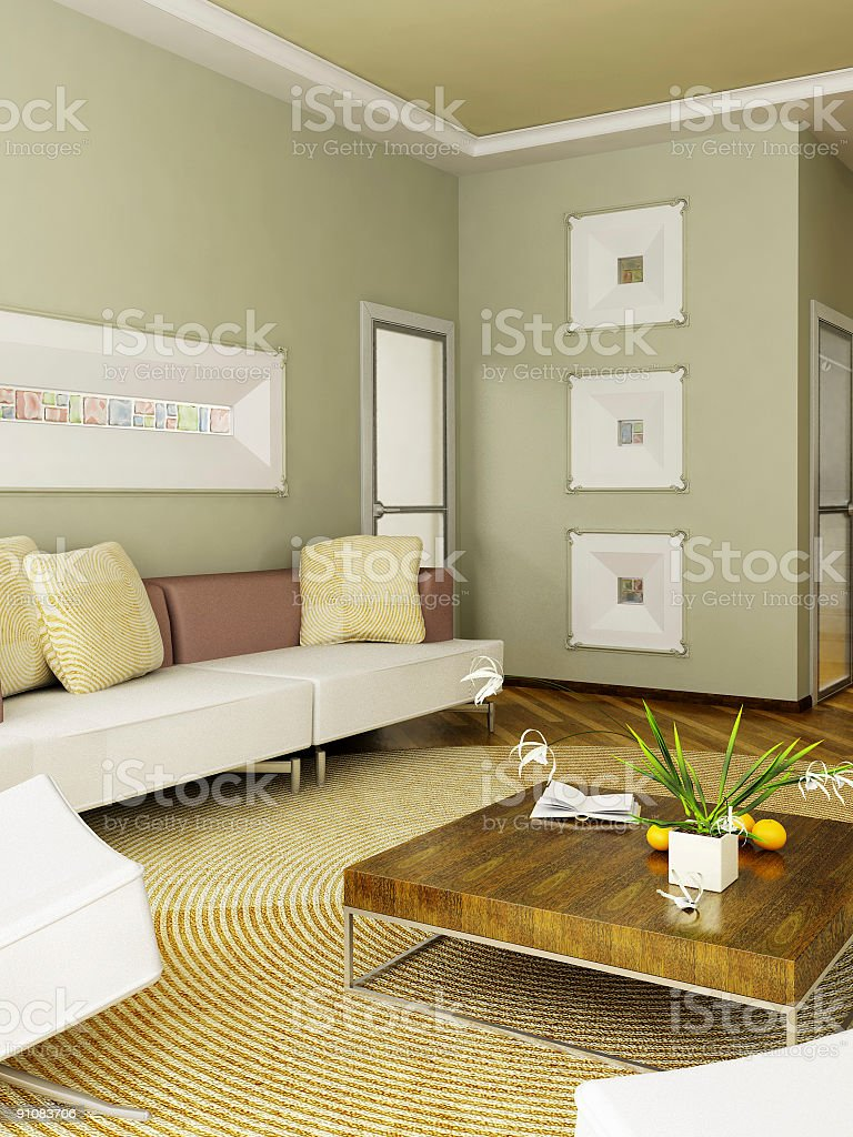 A 3D rendering of a sitting room inside a home royalty-free stock photo