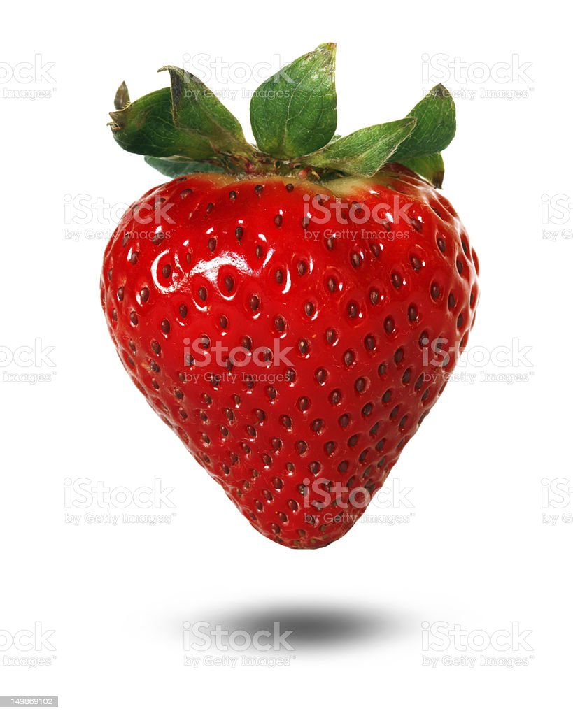 3D rendering of a strawberry with drop shadow stock photo