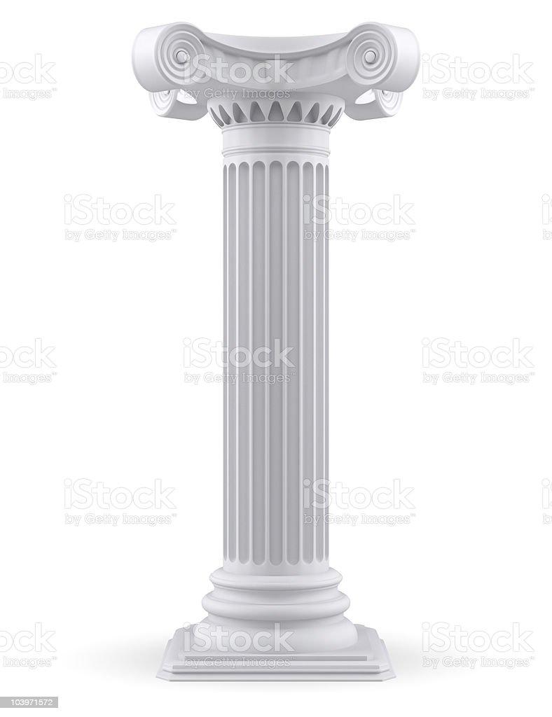 A 3D rendering of a white Corinthian column royalty-free stock photo