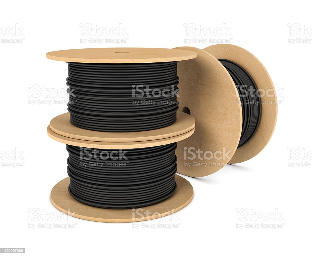 Rendering of black industrial underground cable on large wooden reel stock photo