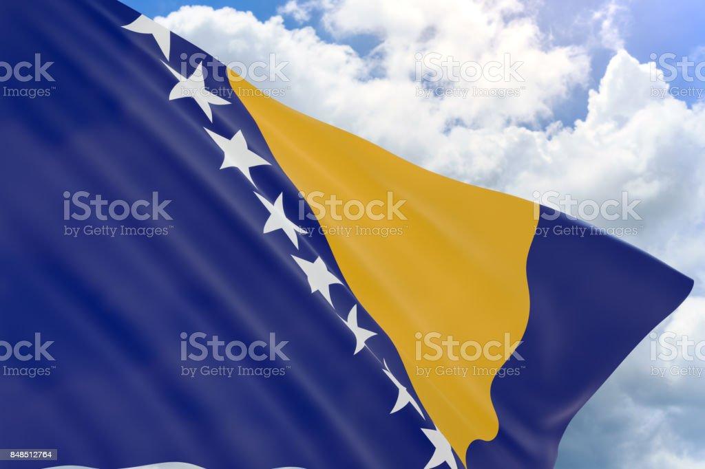 3D rendering of Bosnia and Herzegovina flag waving on blue sky background stock photo