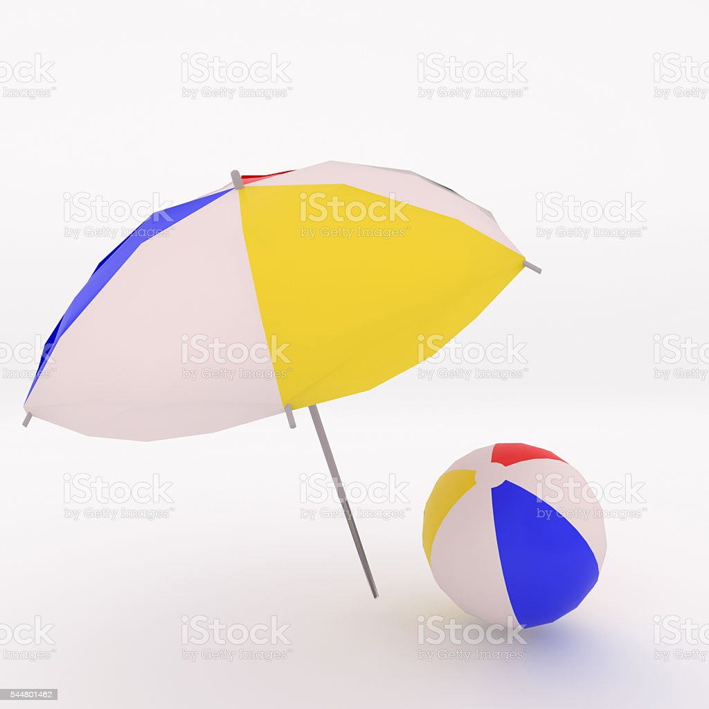 3D rendering of colorful beac ball and umbrella stock photo