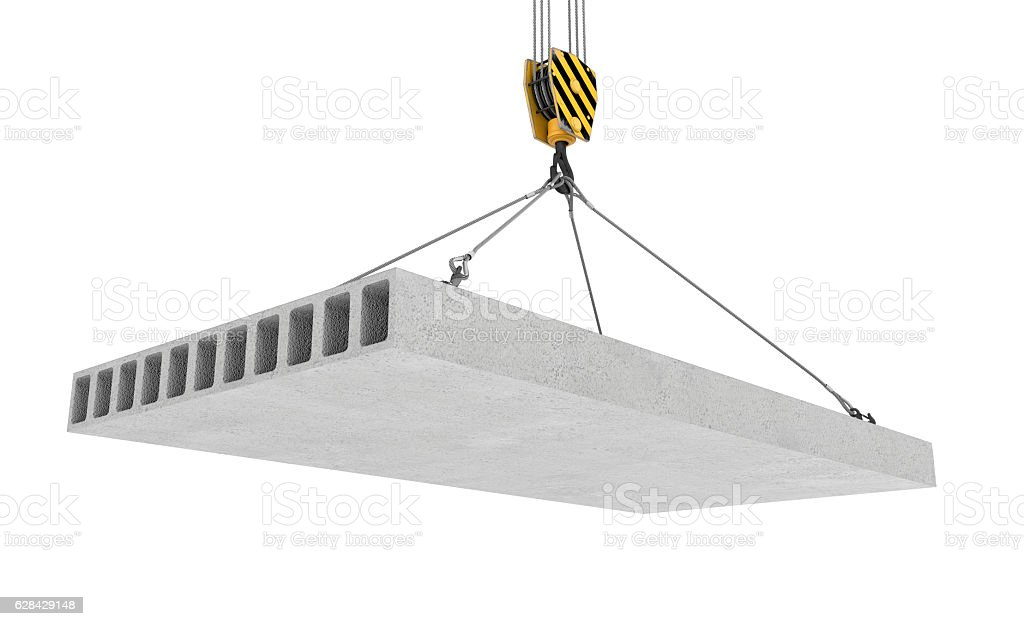Rendering of concrete slab hanging on hook with four ropes stock photo