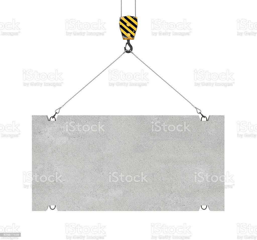 Rendering of concrete slab hanging on hook with two ropes stock photo