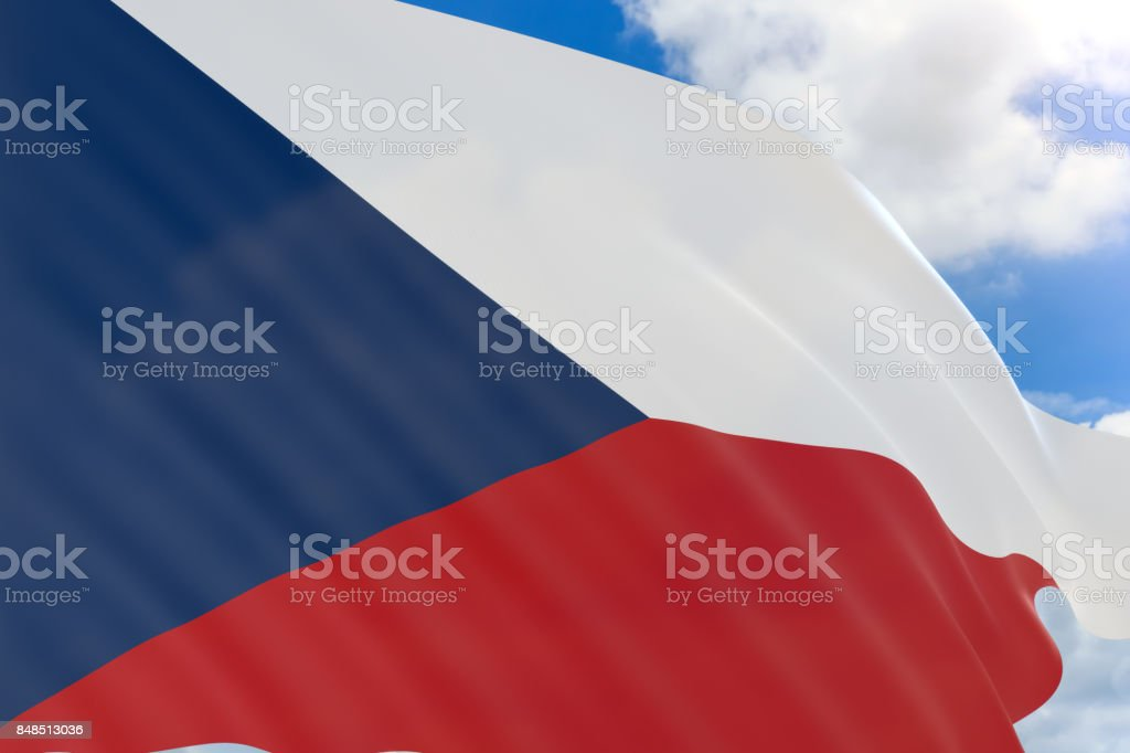 3D rendering of Czech Republic flag waving on blue sky background stock photo