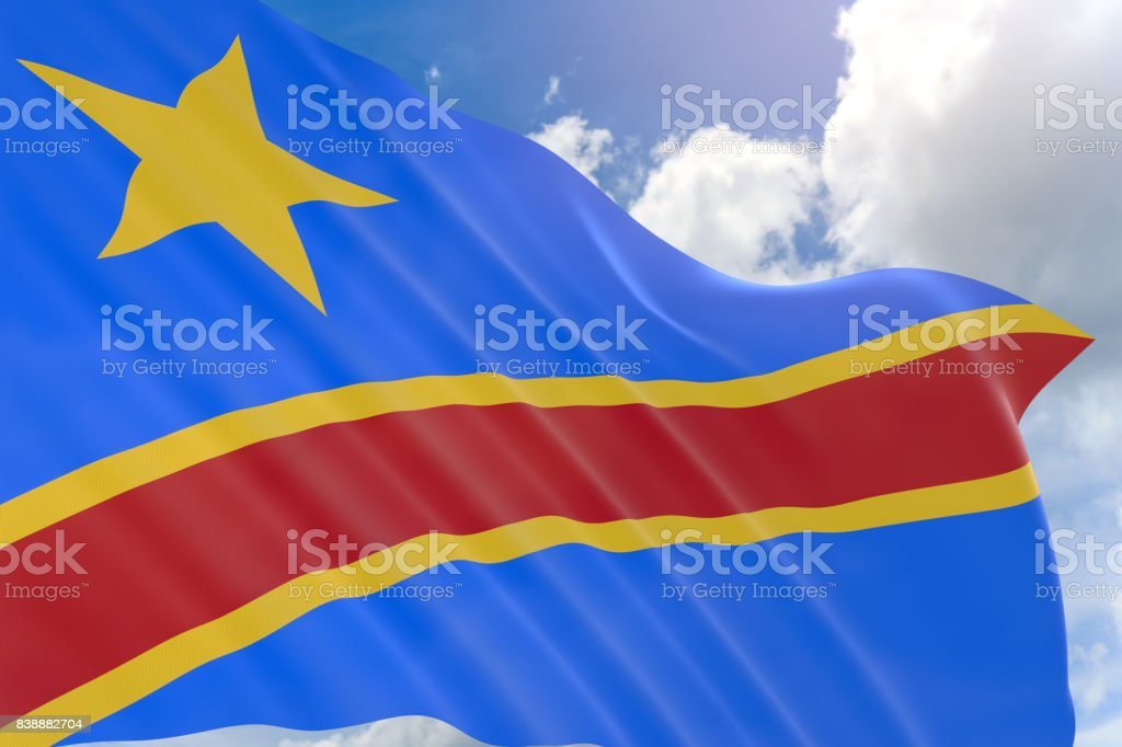 3D rendering of DR Congo flag waving on blue sky stock photo