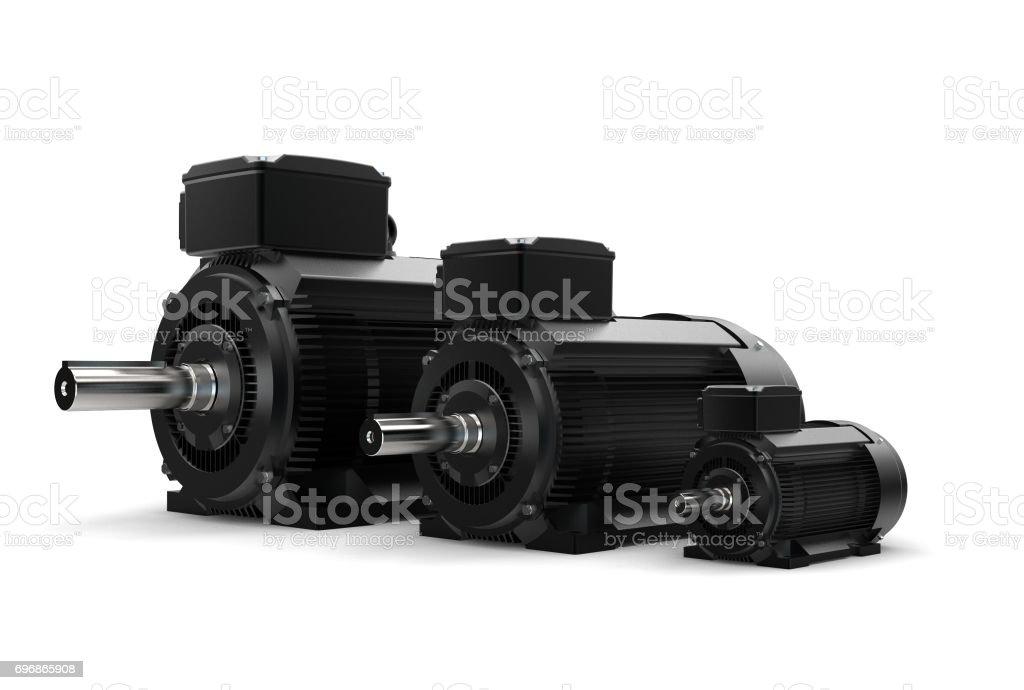 3D rendering of electric motors stock photo