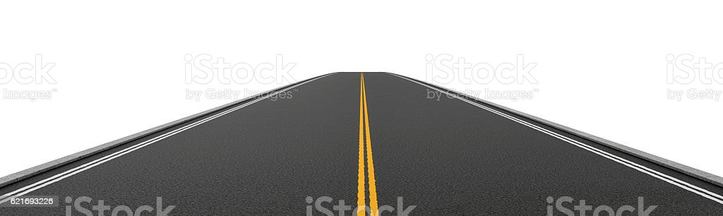 Rendering of empty two-way asphalt road going straight and stock photo