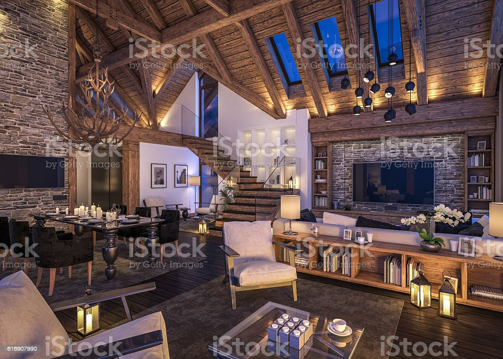 3D rendering of evening living room of chalet royalty-free stock photo