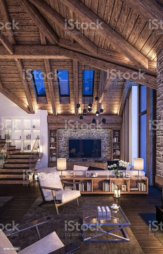 3D rendering of cozy living room on cold winter night in the...