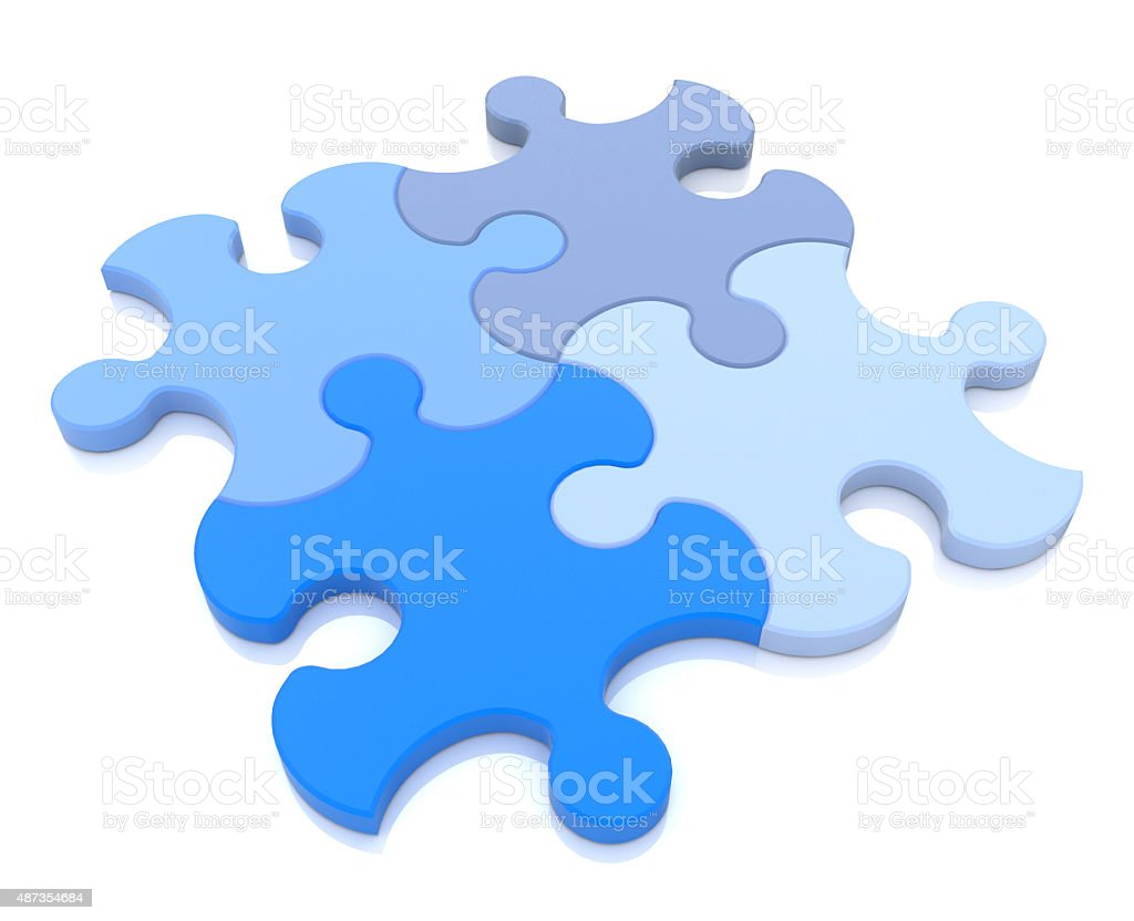 3D rendering of four puzzle pieces in different shades stock photo