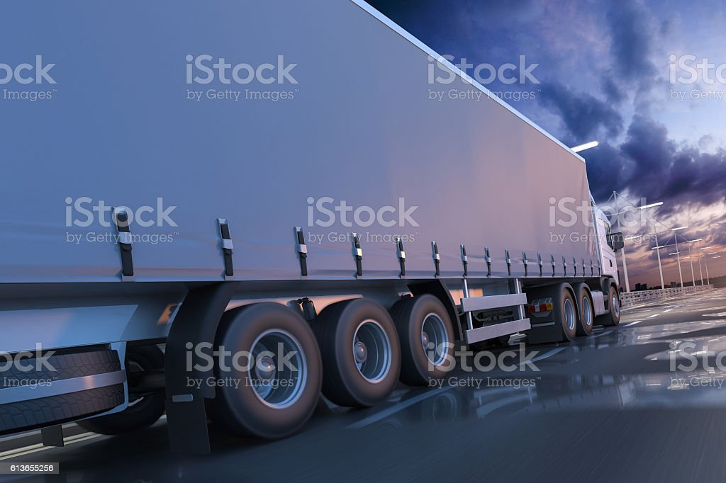 3D rendering of generic transportation concept at dawn stock photo