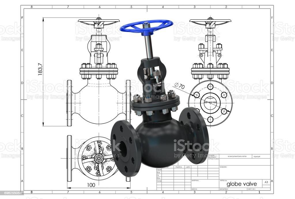 3D rendering of globe valves stock photo