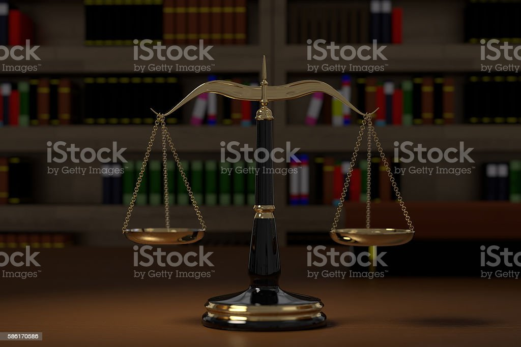 3D rendering of golden law scales stock photo