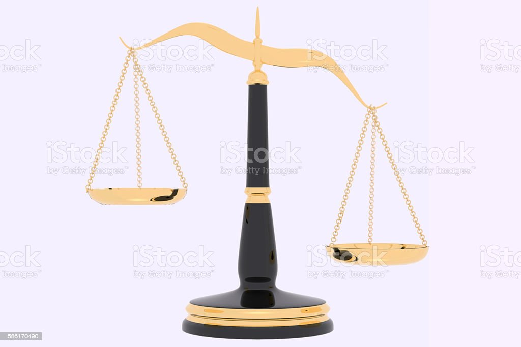 3D rendering of inbalance Law scales stock photo