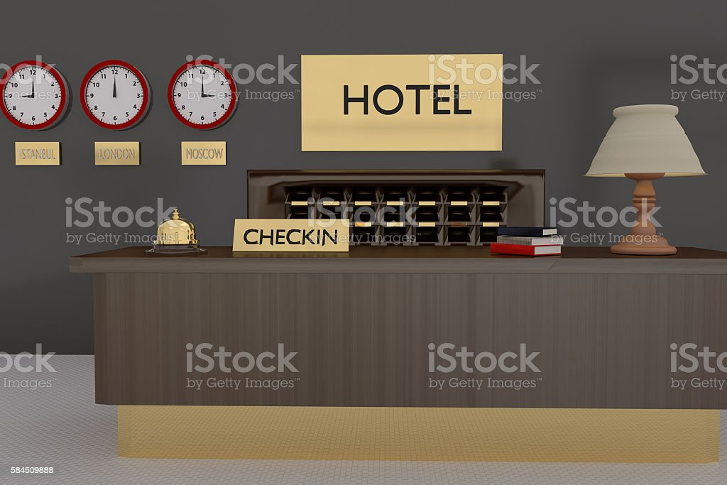 3D rendering of interior of hotel reception stock photo