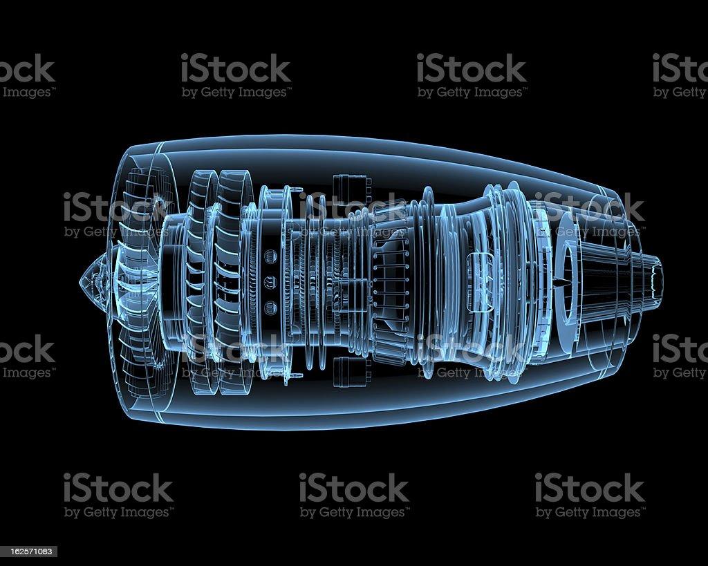 3D rendering of jet engine against black background stock photo