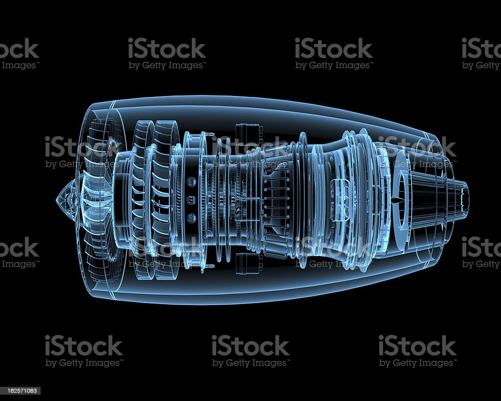 3D rendering of jet engine against black background stock photo