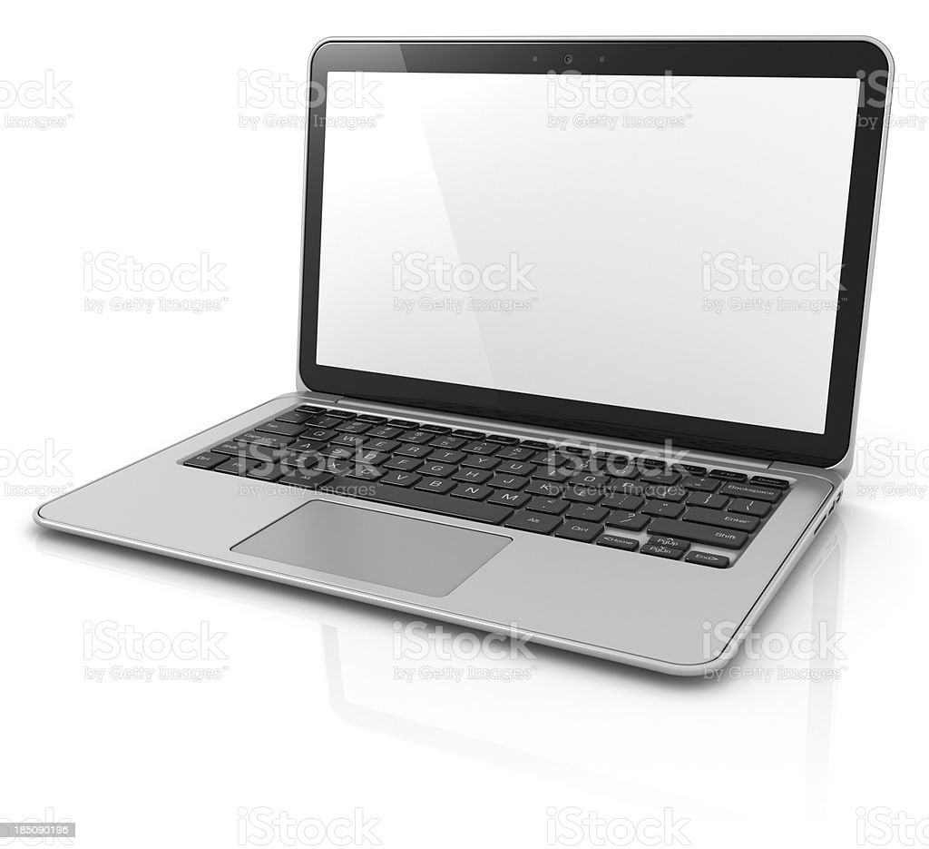 3D rendering of laptop with clipping path stock photo