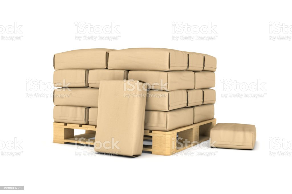 Rendering of large paper bags on pallet stock photo