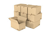 Rendering of light beige mail cardboard boxes put together and