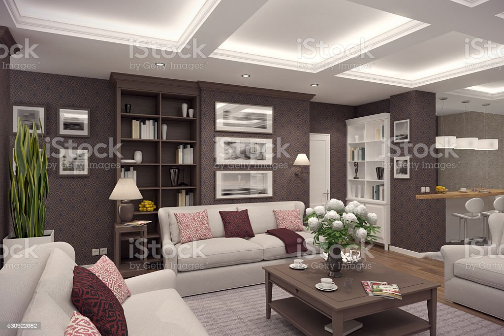 3D rendering of  living room of a classic appartment stock photo