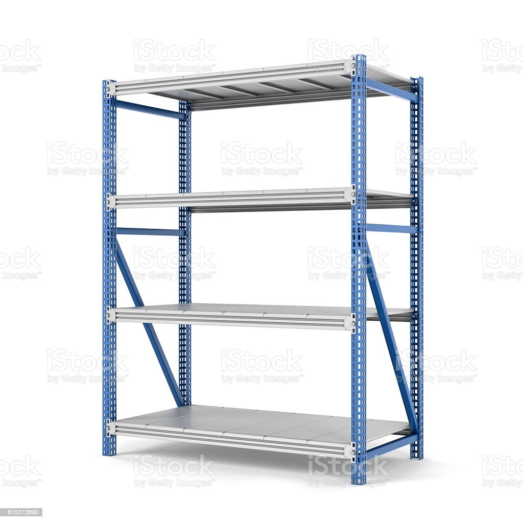 Rendering of metal rack with four shelves, isolated on a stock photo