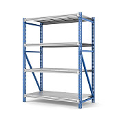Rendering of metal rack with four shelves, isolated on a