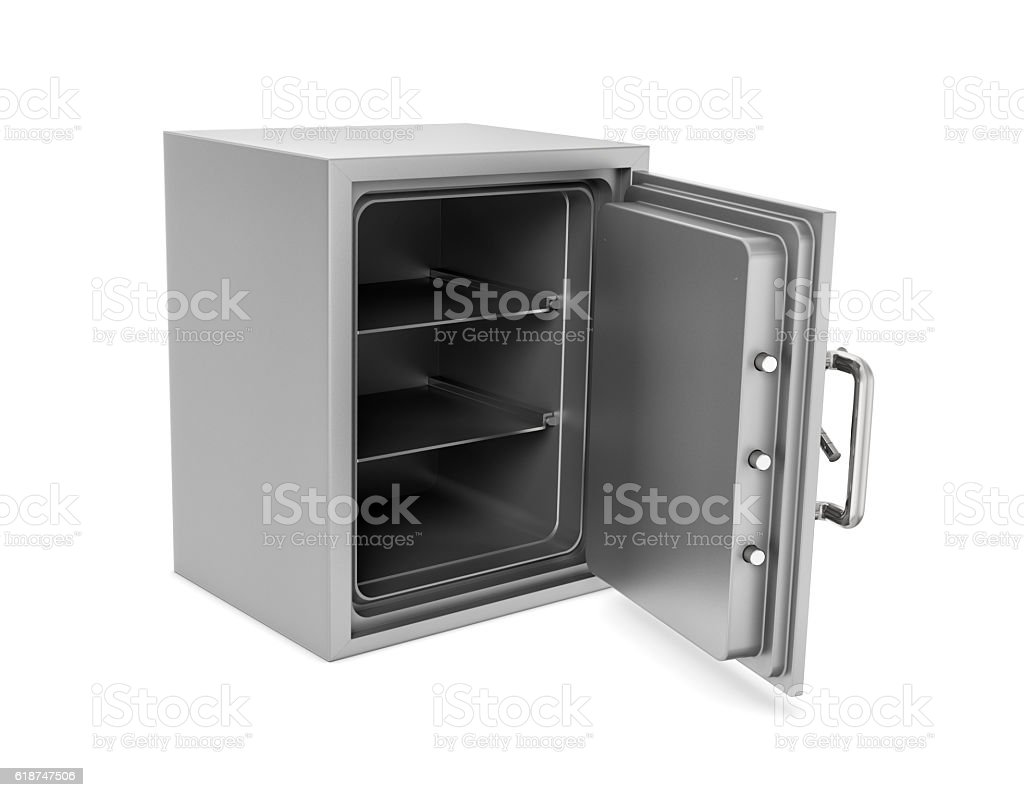 Rendering of open safe box with its door broken isolated stock photo