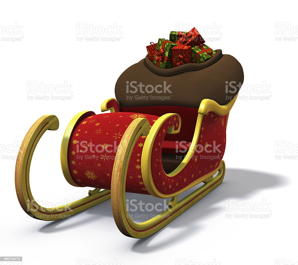 3D rendering of Santa's Sleigh filled with sack of gifts stock photo