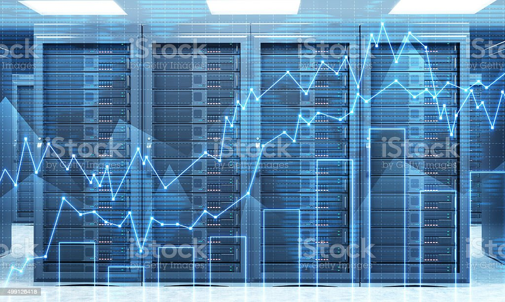 3D rendering of server for data storage, processing and analysis stock photo