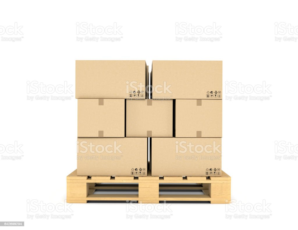 Rendering of several carton boxes stacked evenly on a double-decked pallet stock photo