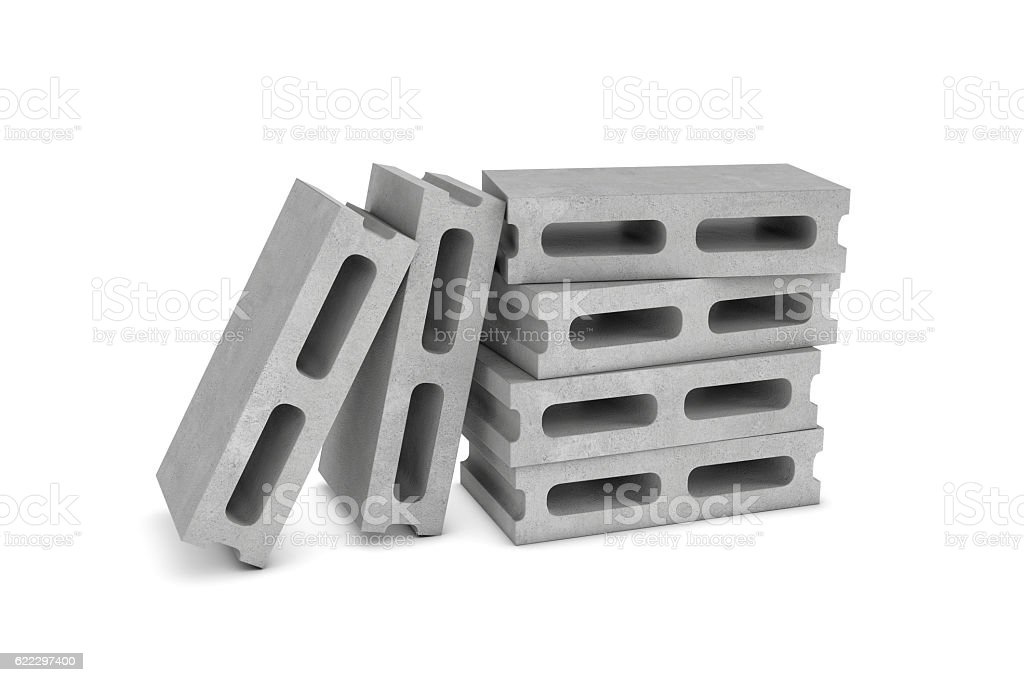 Rendering of six cinder blocks isolated on the white background stock photo