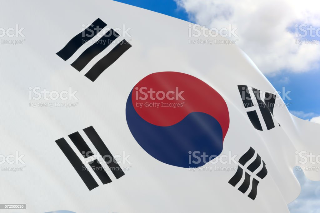 3D rendering of South Korea flag waving on blue sky stock photo