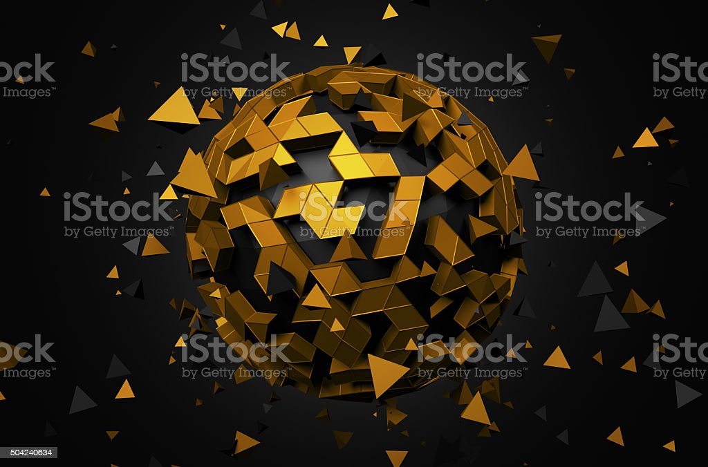 Rendering of Sphere With Chaotic Particles stock photo