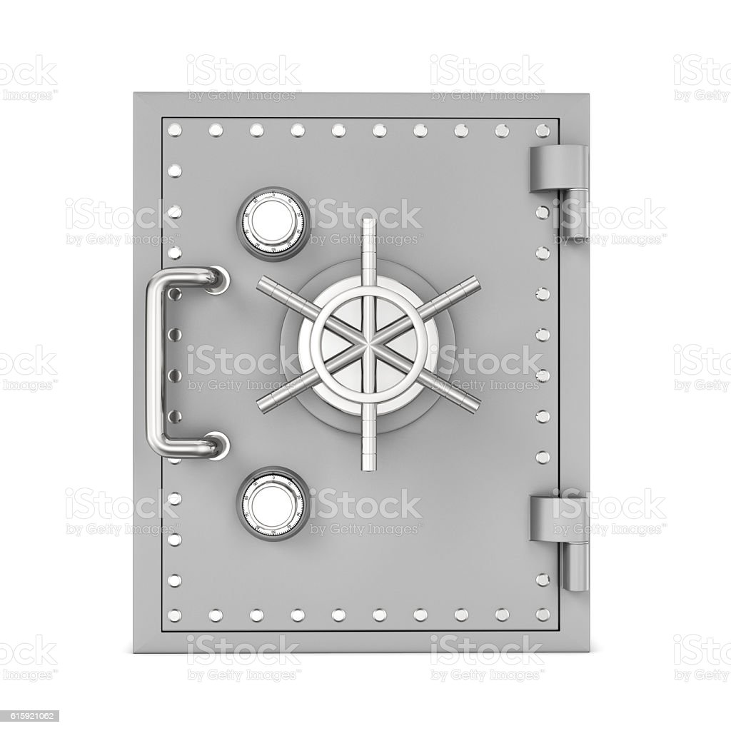 Rendering of steel safe box, isolated on white background stock photo