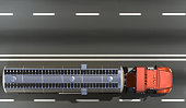 3D rendering of Tanker on the road top view