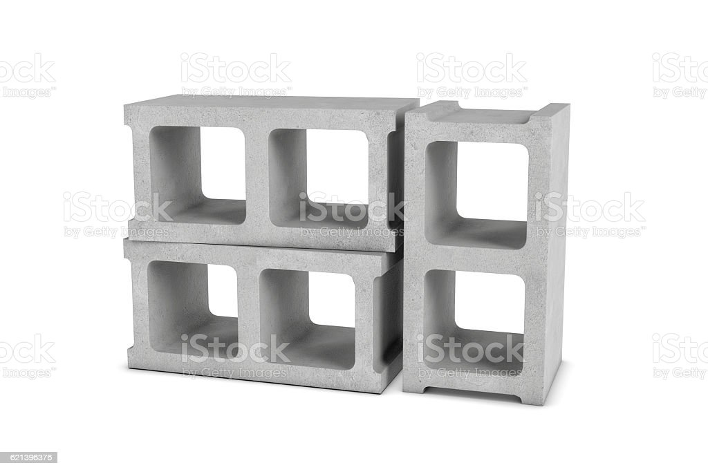 Rendering of three cinder blocks isolated on white background stock photo