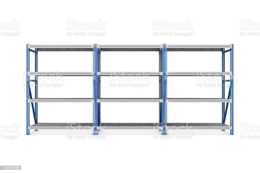 Rendering of three metal racks put together, isolated on the stock photo
