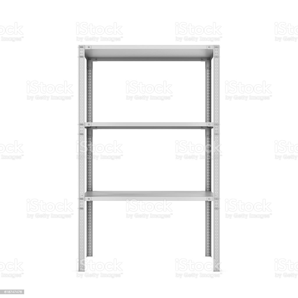 Rendering of three-storey light metal rack isolated on the stock photo